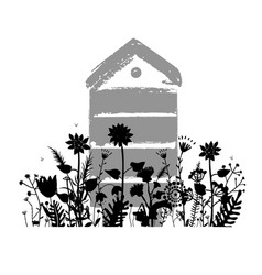 Meadow flowers silhouettes with beehive in summer vector