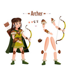 medieval archer woman in armor with bow in hand vector image
