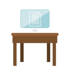 Monitor desktop computer in table icon vector