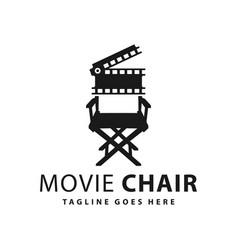 Movie chair logo design vector