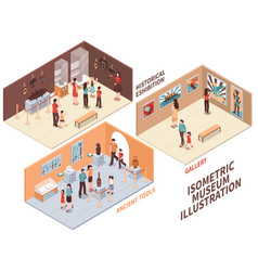Museum isometric compositions set vector