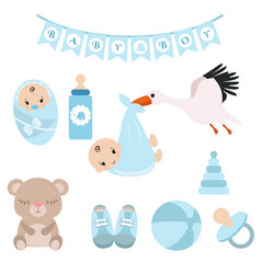 newborn baby icons set newborn baby icons set vector image