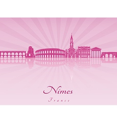 Nimes skyline in purple radiant orchid vector image