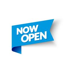 Now open corner flag modern blue web banner vector