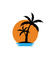 palm tree sunset icon design template isolated vector image