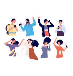 people listen music with earphones happy young vector image