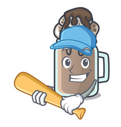 Playing baseball milkshake character cartoon style vector