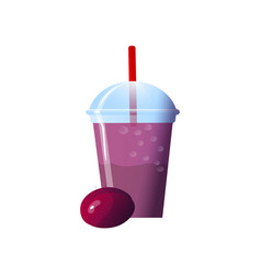 Plum smoothies in a cup superfoods and health or vector