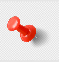 Realistic red paperclip red push pin needle for vector