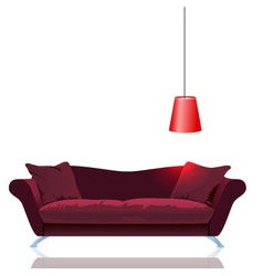 Red sofa with lamp vector