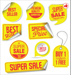 sale stickers and tags yellow design vector image