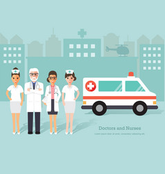 Senior doctors and nurses medical staff vector