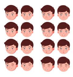 Set boy emotion faces vector