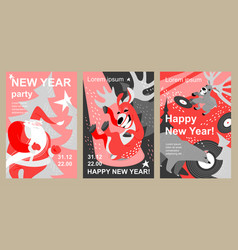 set invitation and greeting cards for new year vector image