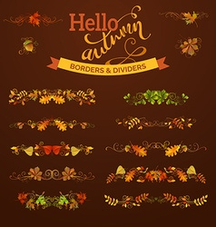 Set of autumn leaves borders page decorations and vector image