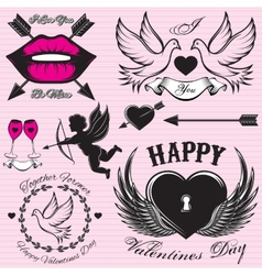 set patterns for love cards for Valentines vector image