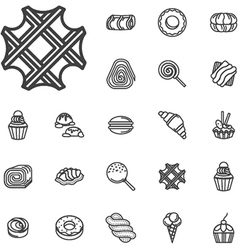 Simple line confectionery icons vector image