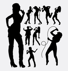 Singer male and female people silhouettes vector image