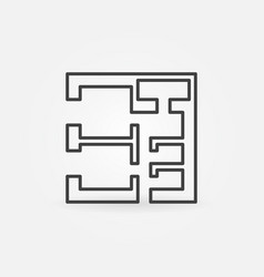 square house plan icon vector image