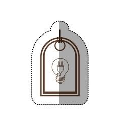Sticker price tag of light bulb with connect shape vector