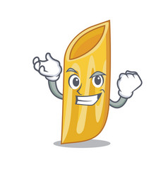 Successful penne pasta character cartoon vector