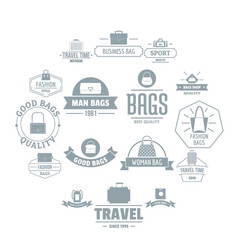 Travel baggage logo icons set simple style vector