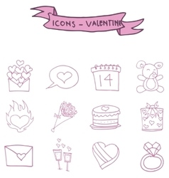 Valentine icons pink element art vector