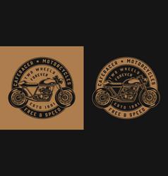Vintage motorcycle round emblem vector