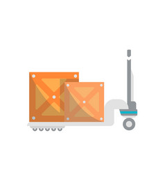 warehouse cart with wooden boxes icon vector image