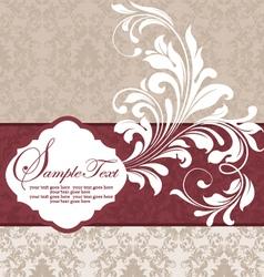 wedding damask floral card vector image vector image