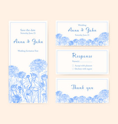 wedding invitation cards with chrysanthemum vector image