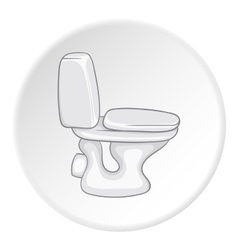 White toilet bowl icon cartoon style vector