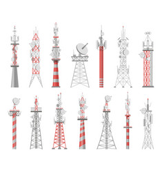 Wireless towers telecommunication network tower vector