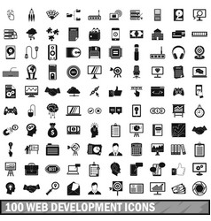 100 web development icons set simple style vector image vector image