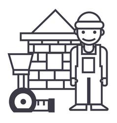 builderbrick housemeter line icon sign vector image vector image
