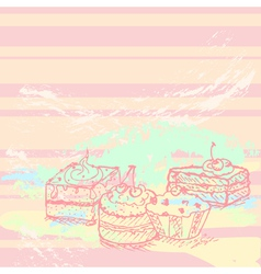 hand drawn cakes vector image