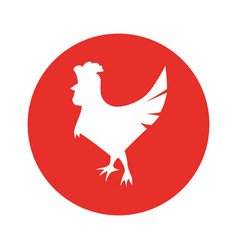Rooster round icon vector