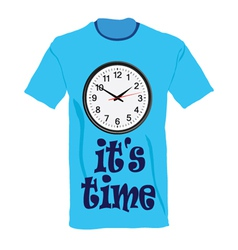 t-shirt in blue color with clock vector image