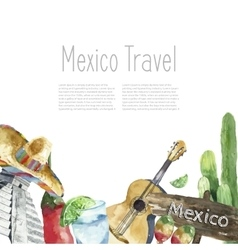 Travel Concept Mexico Landmark Watercolor Icons vector image vector image