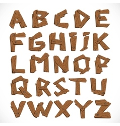Alphabet made of wooden letters isolated on white vector image vector image
