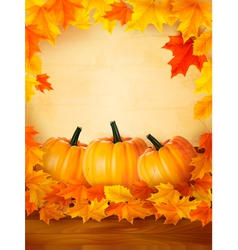 background with three pumpkins and old paper vector image vector image