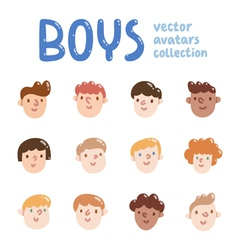 Boys colorful avatars collection vector image vector image