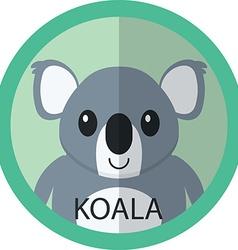 Cute Coala bear cartoon flat icon avatar round vector image vector image