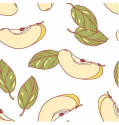 hand drawn seamless pattern with apple vector image