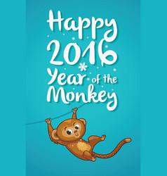 New Year with cartoon monkey-symbol vector image