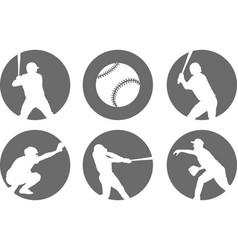 simple baseball icons set vector image vector image