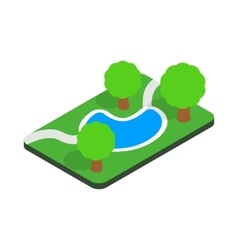 Small pond in the park icon isometric 3d style vector image