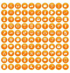 100 digital marketing icons set orange vector