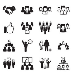 business team icon set vector image