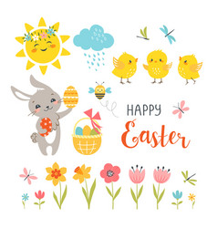 cute easter design elements vector image vector image